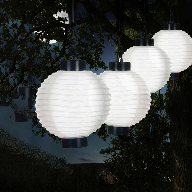 Pure Garden 4-Pack Outdoor LED Solar Chinese Lanterns - White