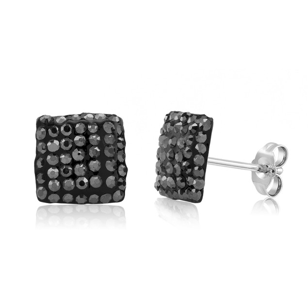 Sterling Silver Sparkling Crystal 10mm Stud Earrings - Square Grey