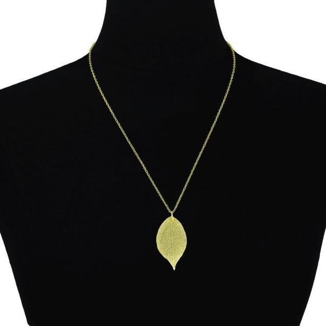 24k Gold Overlay Leaf Pendant
