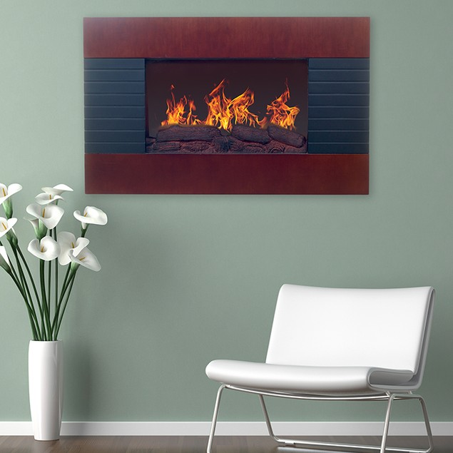 Northwest Mahogany Electric Fireplace with Wall Mount & Remote