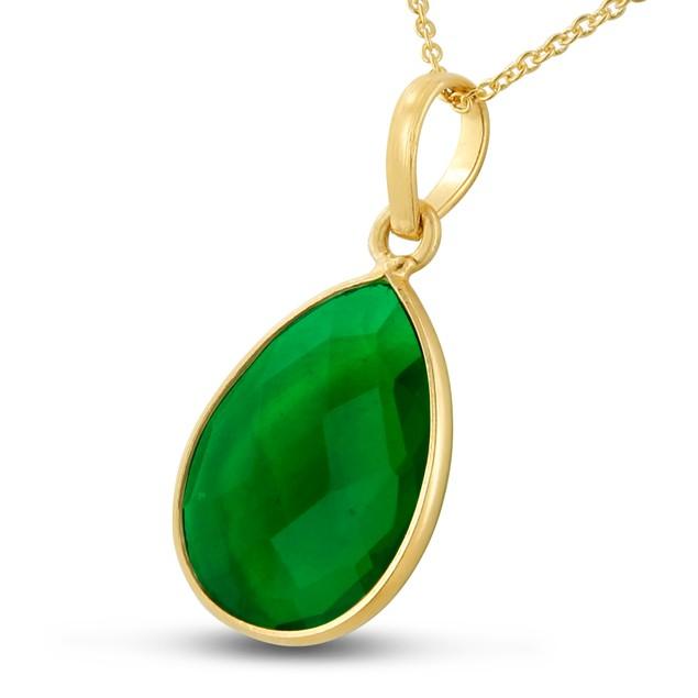 10ct Emerald Quartz Pear Shape Necklace