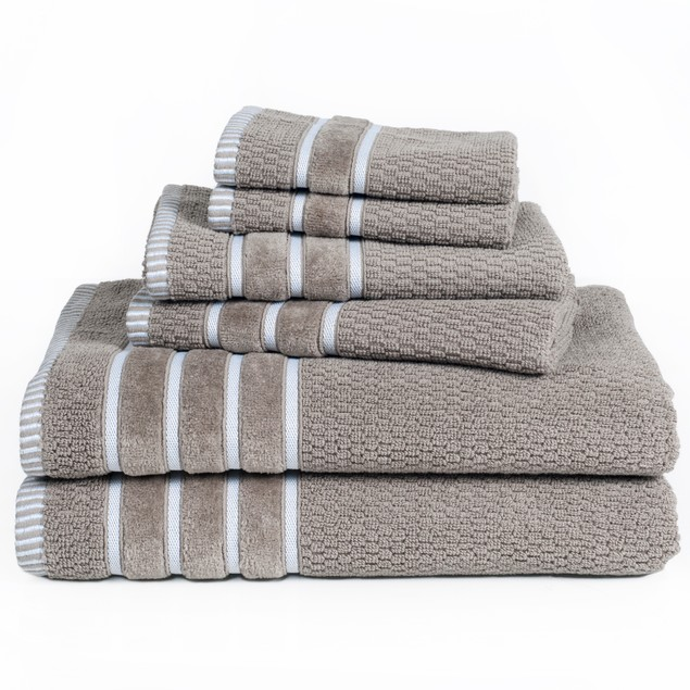 100% Egyptian Cotton Rice Weave 6 Piece Towel Set
