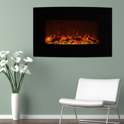 """Northwest 36"""" Curved Color Changing Fireplace Wall Mount Floor Stand"""