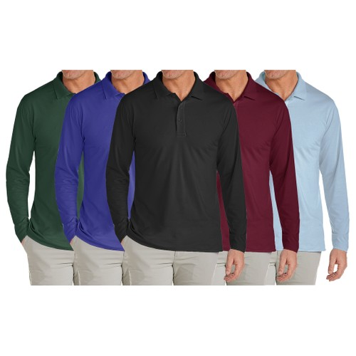 3-Pack Long Sleeve Men's Pique Polo Shirts