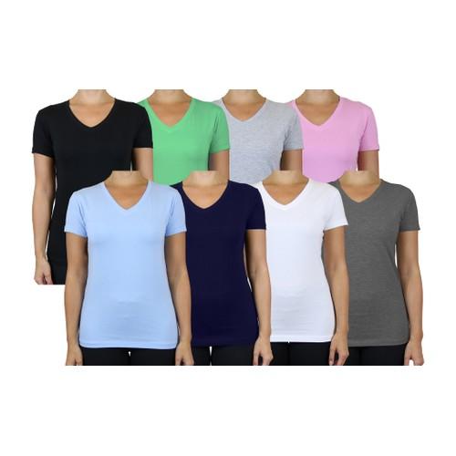 Women's 5-Pack Assorted V-Neck Short Sleeve Basic Tee (Sizes, S-3XL)
