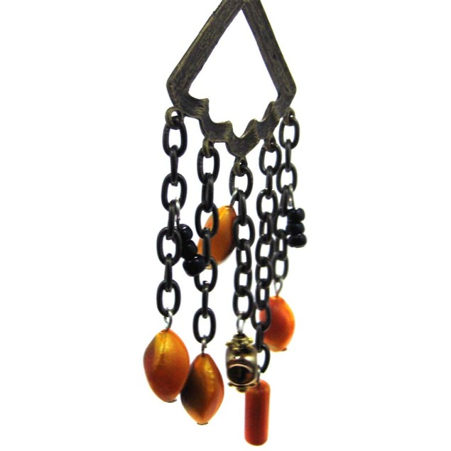Burnished Brass Orange Bead Drop Fashion Necklace Womens Pendant Necklaces