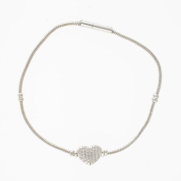 Designer Inspired Crystal Puff Heart Bracelet