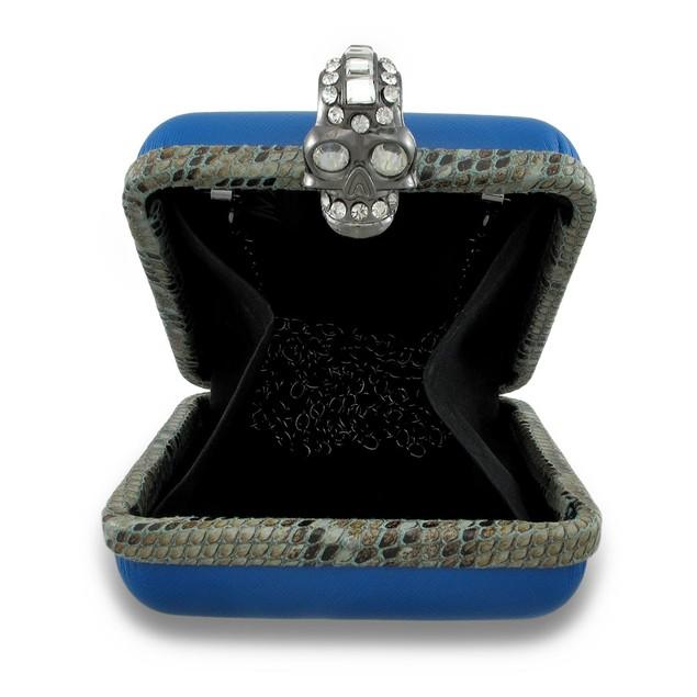 Blue Square Clutch Purse W/Rhinestone Skull Ring Womens Clutch Handbags