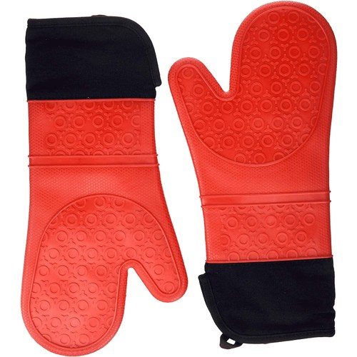 1-Pair Elbee Home Long Oven Mitts for Cooking and Grilling