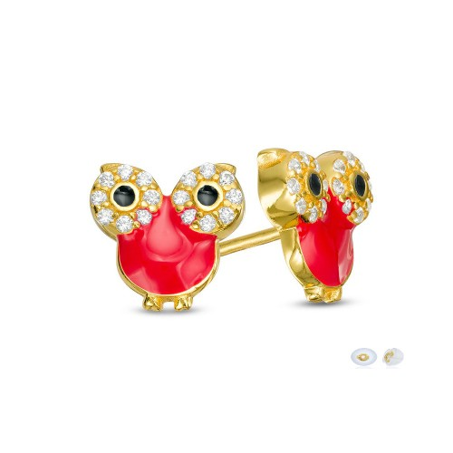 18K Yellow Gold Plated Red Owel Enameled & Cubic Zirconia Children's Post Earrings