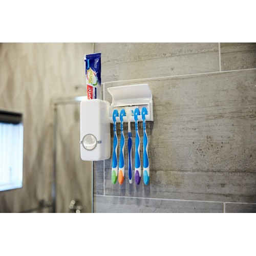 Automatic Toothpaste Dispenser+ 5 Toothbrush Holder Set Wall Mount Stand