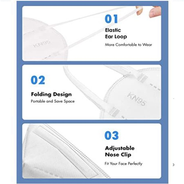 50 or 100 KN95 Masks w/ Multi-Layer Breathable Fabric & Elastic Ear Loops