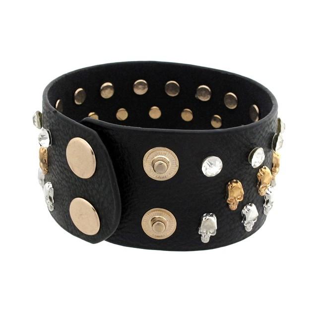Black Leather Wristband W/ Tiny Skull Studs And Mens Leather Bracelets
