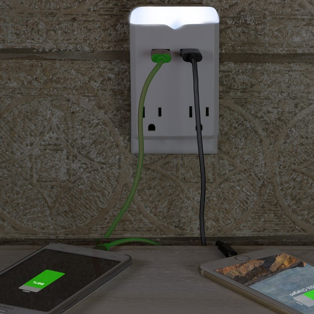 Nightlight AC 2 Outlet & 2-USB 2.1 Amp Power Charging Station