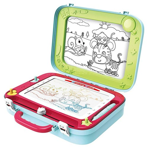 Magnetic Portable Drawing Board for Kids with Built-in Chalkboard Easel
