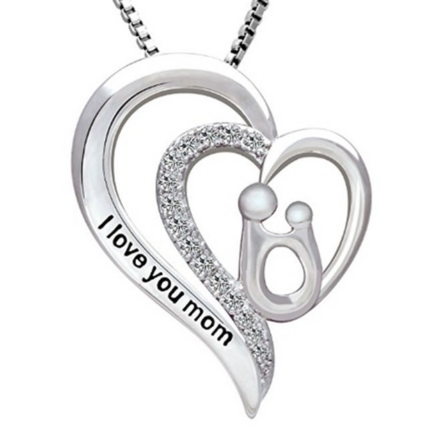 """I Love you Mom"" Drop Heart Necklace"