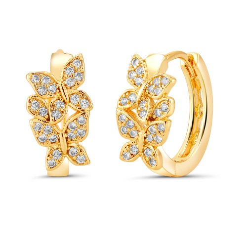 18kt Yellow Butterfly Goldtone Cubic zirconia  Huggie Earrings