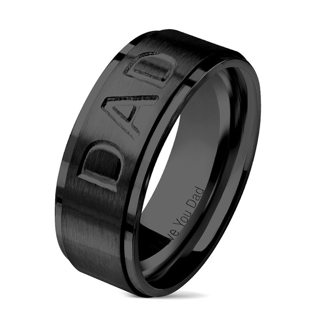 """Dad"" Stainless Steel Comfort Fit Mens Band"