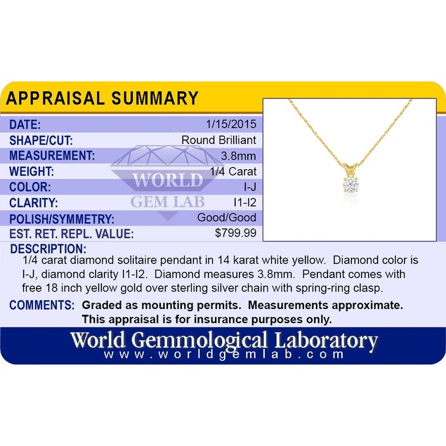 14k Gold 1/4 Carat Genuine Diamond Solitaire Necklace