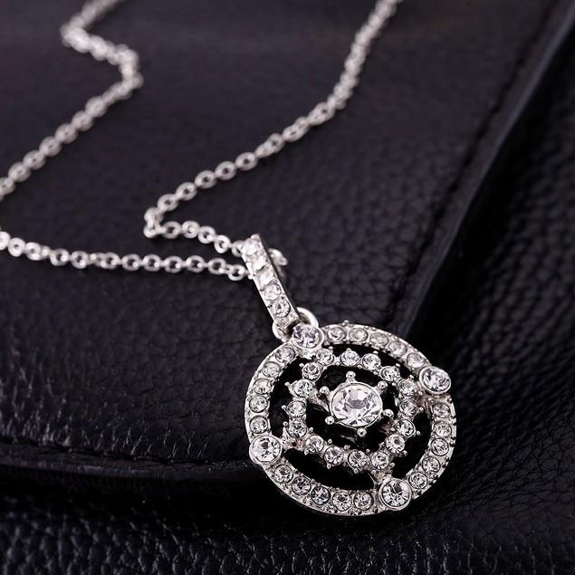 Cubic Zirconia Double Halo Pendant Necklace