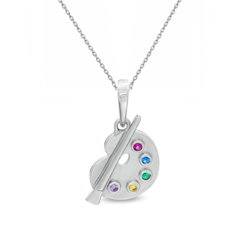 """0.925 Sterling Silver High Polished Multi Colored Paint Palette Pendant With 18"""" Cable Chain Set"""