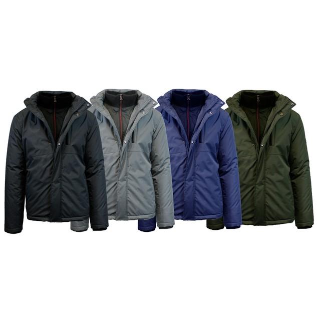 Men's Heavyweight Jacket With Cuffed Neck & Detachable Hood