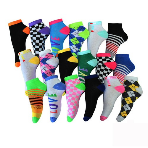 18 Pairs Frenchic Women's Fun & Vibrant Ankle Socks