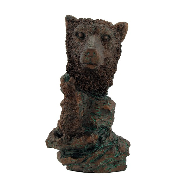 Bronzed Wolf Bust Statue 7 In. Statues