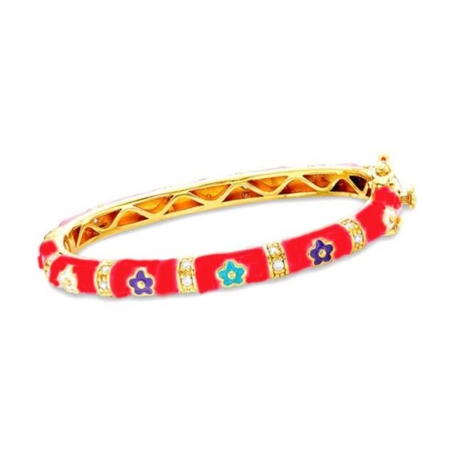 18KGP Red Enameled Daisy Flowers W/C.Z Chidren's Bangle Bracelets