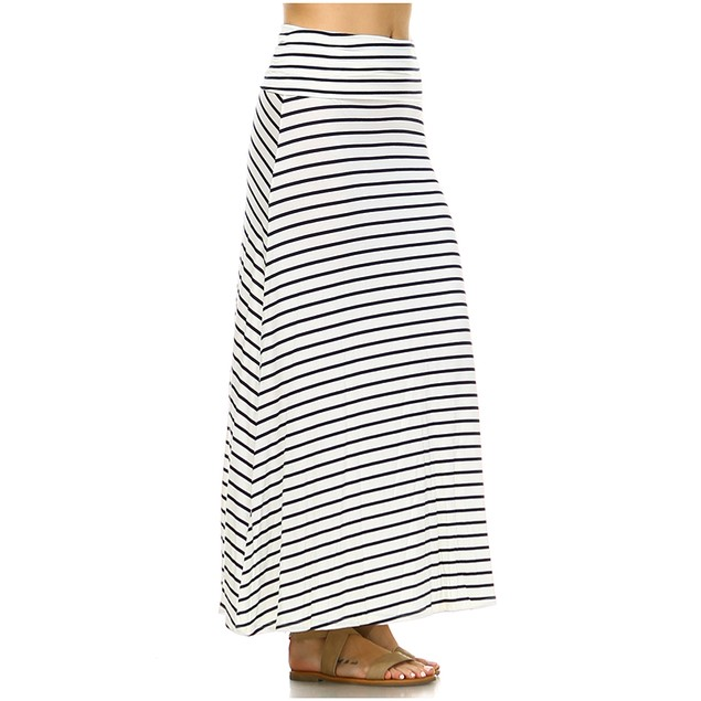 White Mark Universal Striped Maxi Skirt