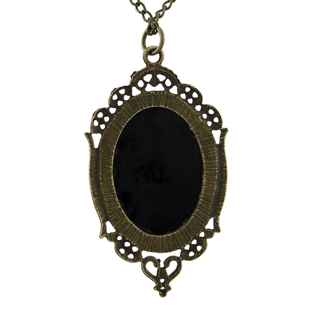 Victorian Skeleton Cameo Necklace With Burnished Pendant Necklaces