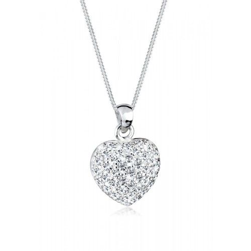 """0.925 Sterling Silver Cubic Zirconia Pave Heart Shape Pendant With 18"""" Necklace Set"""