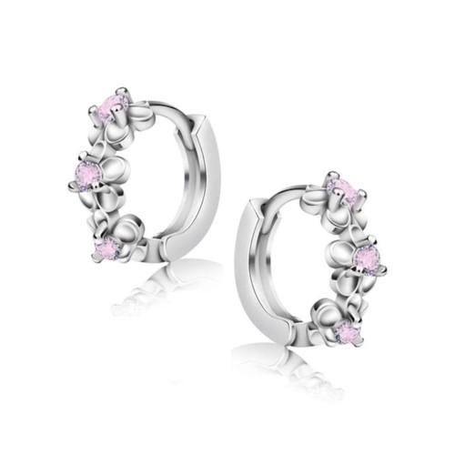 0.925 Sterling Silver Rhodium Finished Pink Cubic Zirconia 3 Flowers Huggie Hoop Earrings