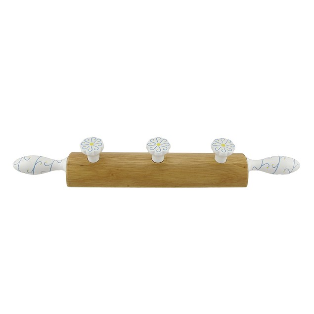 Decorative Wooden Rolling Pin Wall Pegs Coat Hooks