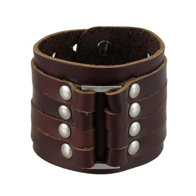 Brown Leather 4 Strap Wristband Wrist Band Chrome Mens Leather Bracelets