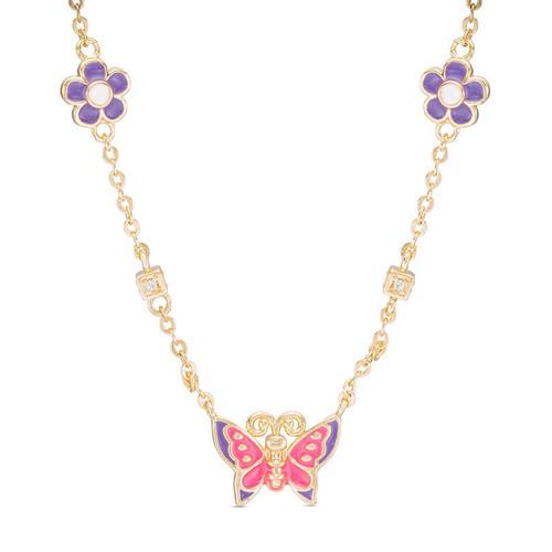 "18KGP Multi Colors Enameled Flowers, Butterfly & C.Z Children's Necklace-(14"" + 2"" Extension)"