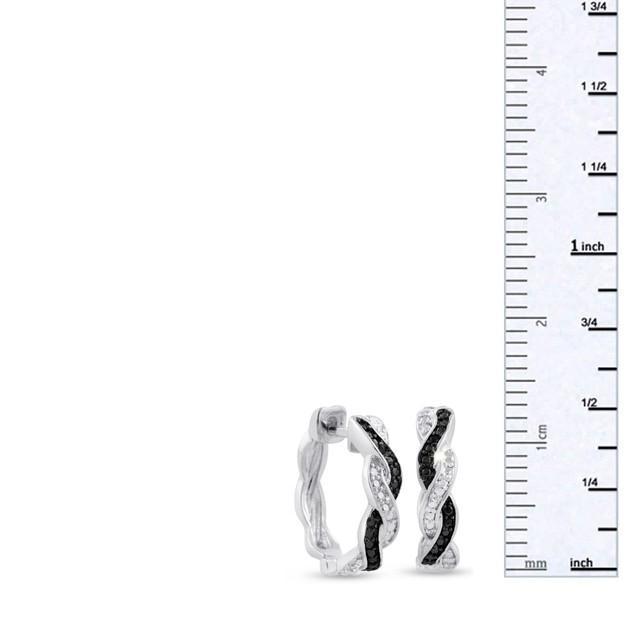 Black and White Diamond Swirl Hoop Earrings