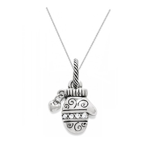 "0.925 Sterling Silver Oxidized Finished & Cubic Zirconia Mitten Pendant W/ 18"" Cable Chain Set"