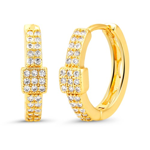 18kt Yellow square Goldtone Cubic zirconia  Huggie Earrings