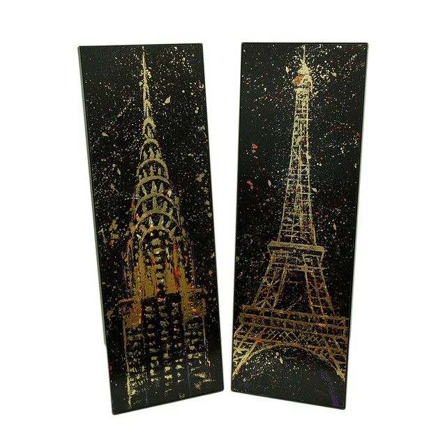 2 Pc. Foiled Eiffel Tower And Chrysler Building Prints