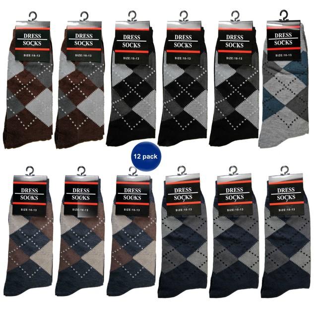 Men's Cotton Ribbed Printed Dress Socks
