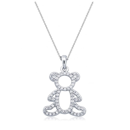 "0.925 Sterling Silver Cubic Zirconia Teddy Bear Shape Pendant W/ 18"" Cable Chain Set"