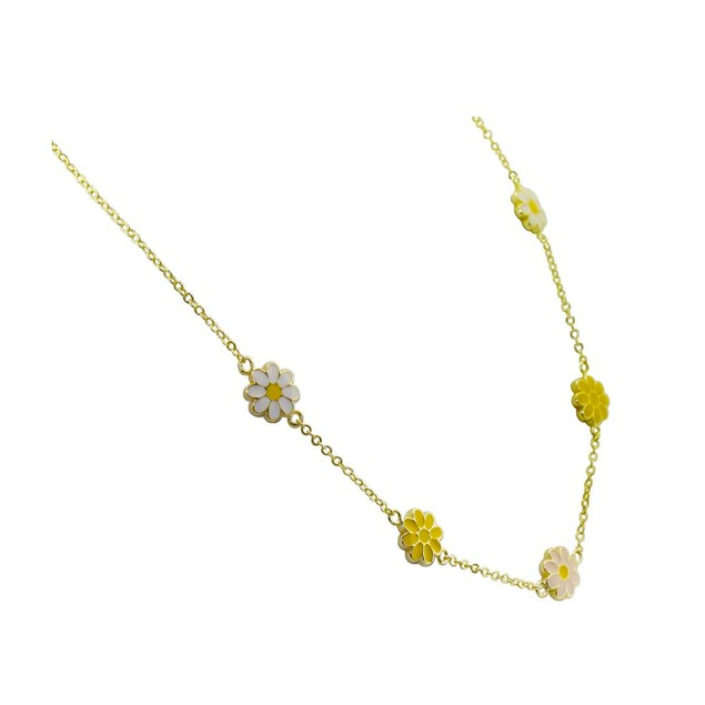 18KGP Light-Pink, Yellow & White Enameled Daisy Flowers Children's Necklace