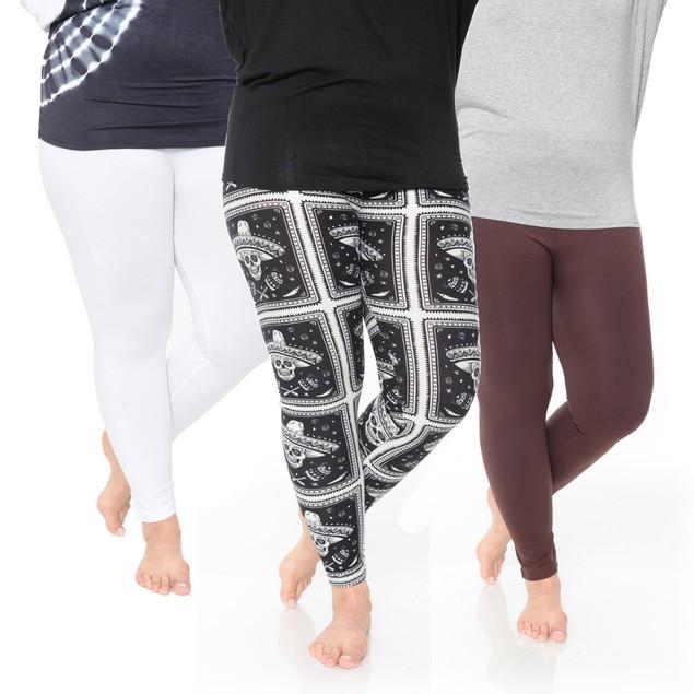 3-Pack White Mark Assorted Plus Size Legging
