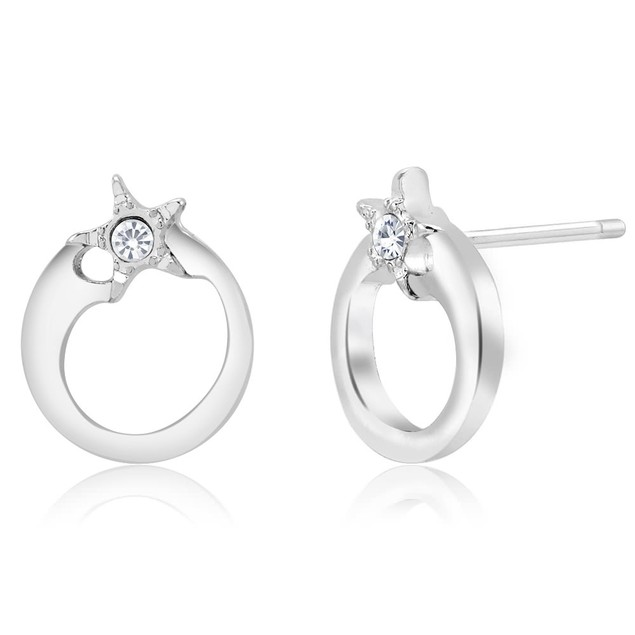 Cubic Zirconia Star Round Earrings
