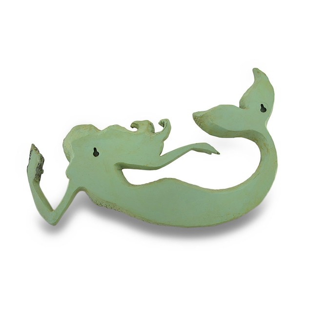 Celadon Green Distressed Finish Mermaid Wall Wall Sculptures