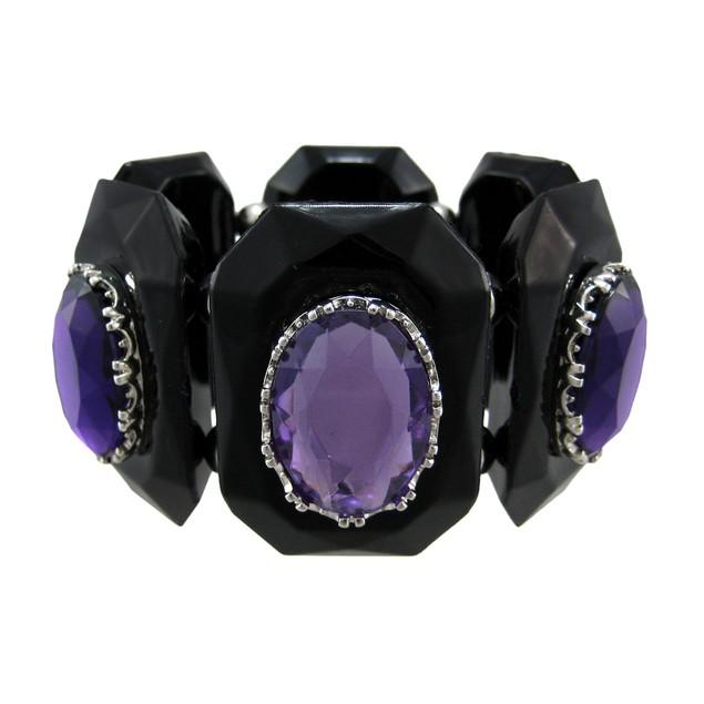 Chunky Faceted Purple Stone Stretch Bracelet Womens Stretch Bracelets