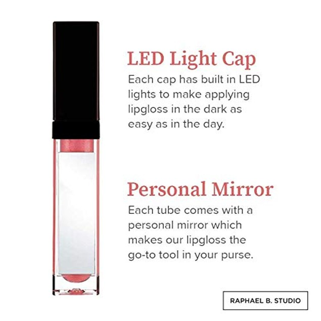 Light Up Lip Gloss with LED Light & Side Mirror - Set of Two