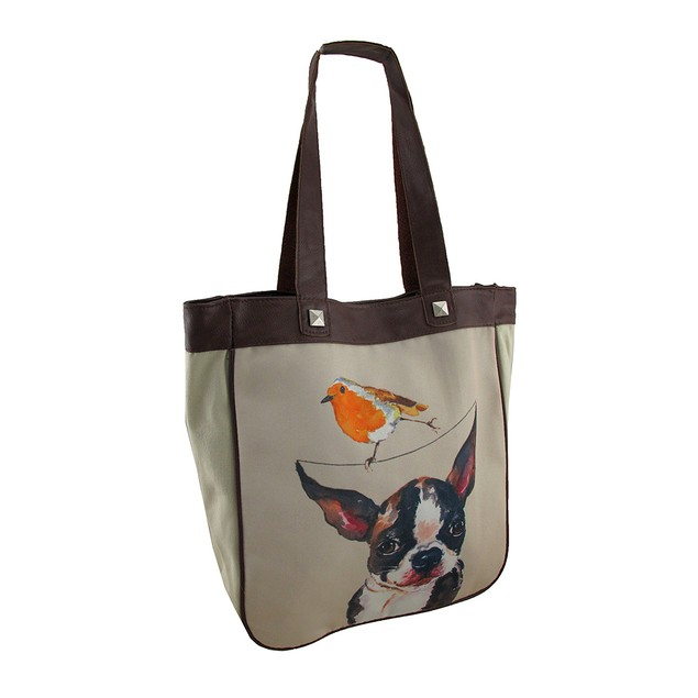 Whimsical Balancing Bird On A Dog Canvas Tote Bag Womens Tote Bags