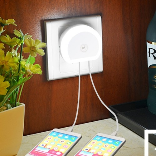 2-Pack Plug-In Night Light w/ USB Ports & Motion Sensor